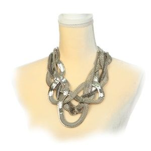 Statement Necklace Chunky Snake Chain Silver NEW